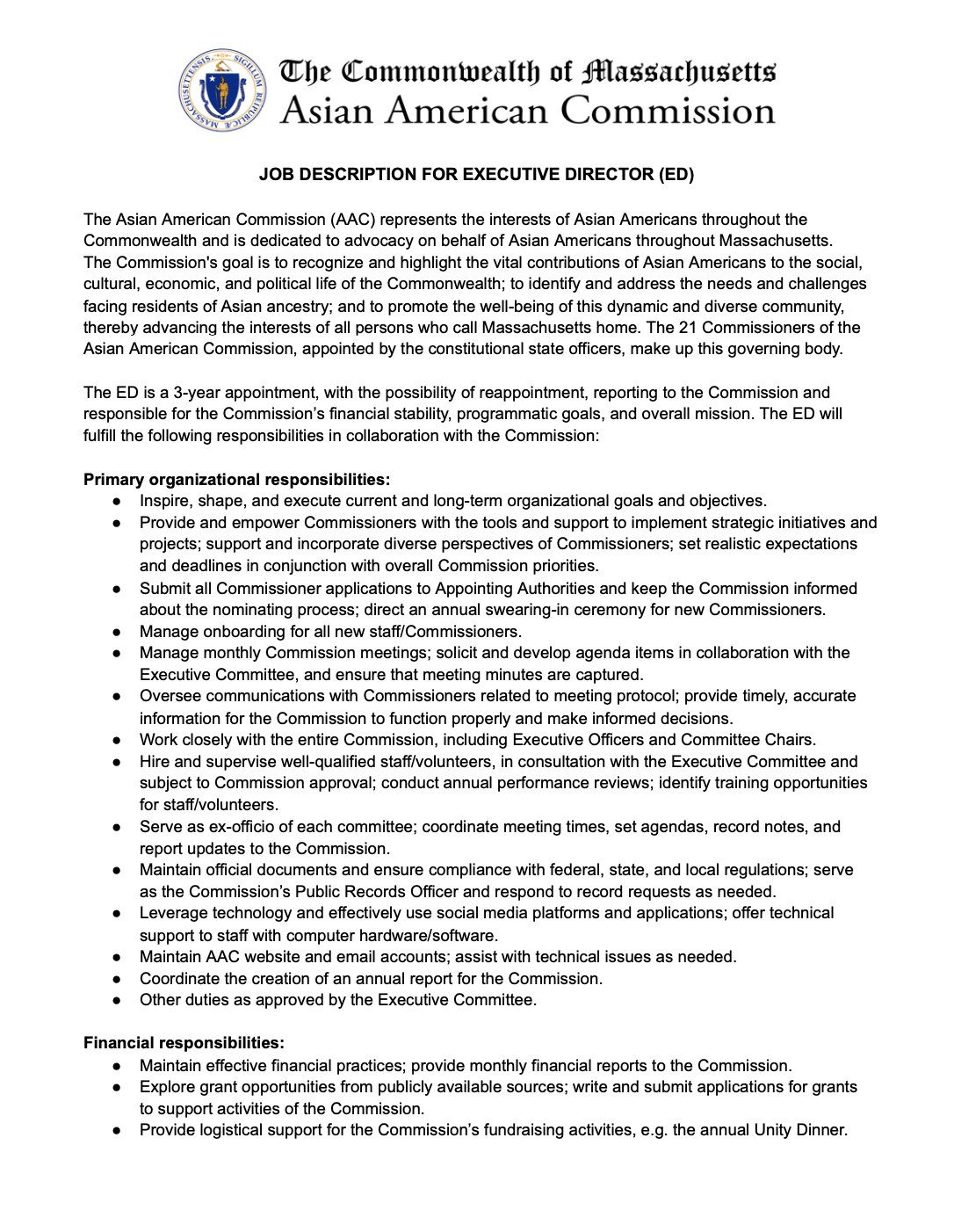 Executive Director | Job Opportunity: Applications due Jan. 30th